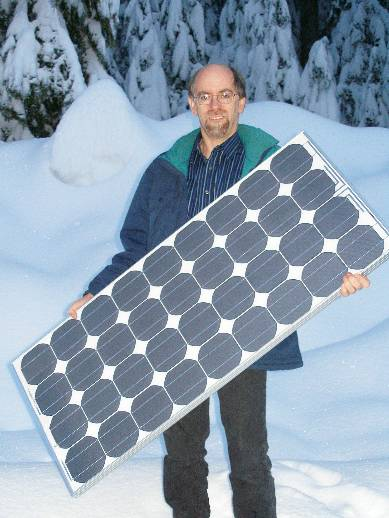 Peter with panel in snow