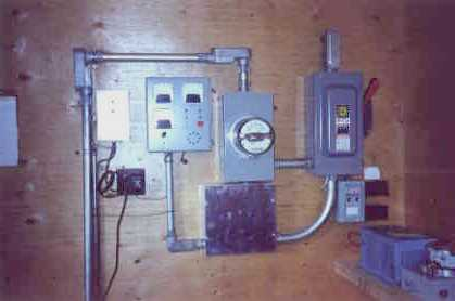 The turbine control and switch panels. automatic shut down in case of trouble is essential in most hydro installations.