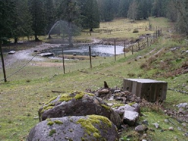 Future site of power house, water will drain into pond stocked with fish.