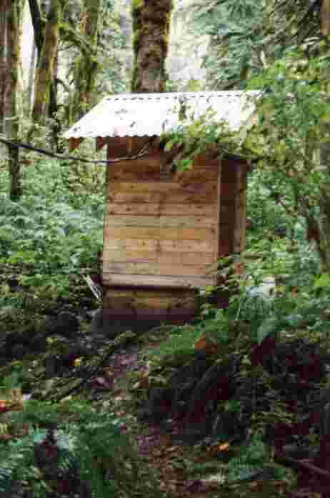 Example of a micro hydro power house which provides all the electrical energy needs of an outdoor base camp.