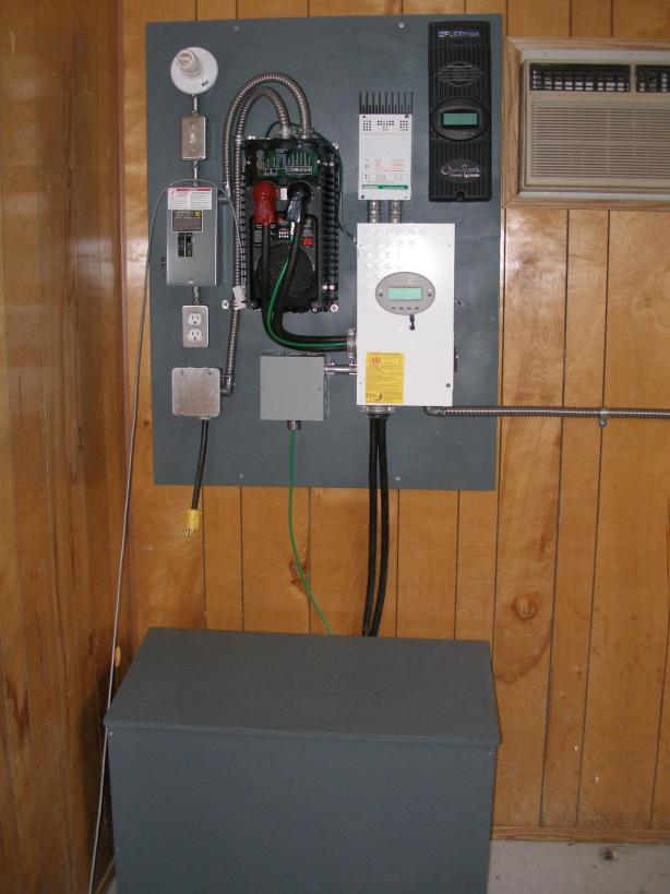 The completed electrical panel with inverter, AC and DC switches, charge controller, solar controller for future, and battery box..