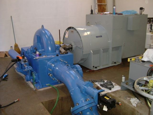The turbine and generator during installation.